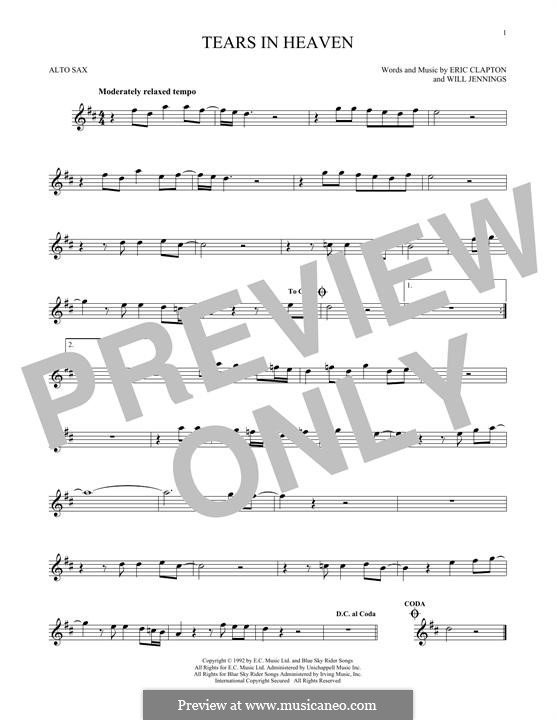 Tears in Heaven: For alto saxophone by Eric Clapton, Will Jennings