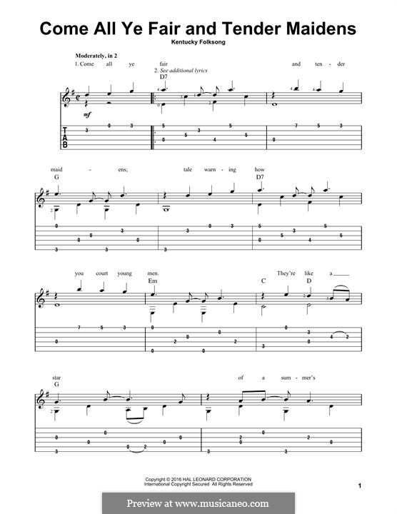 Come All Ye Fair and Tender Maidens: For guitar with tab by folklore