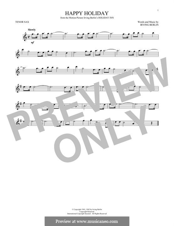 Happy Holiday: For tenor saxophone by Irving Berlin