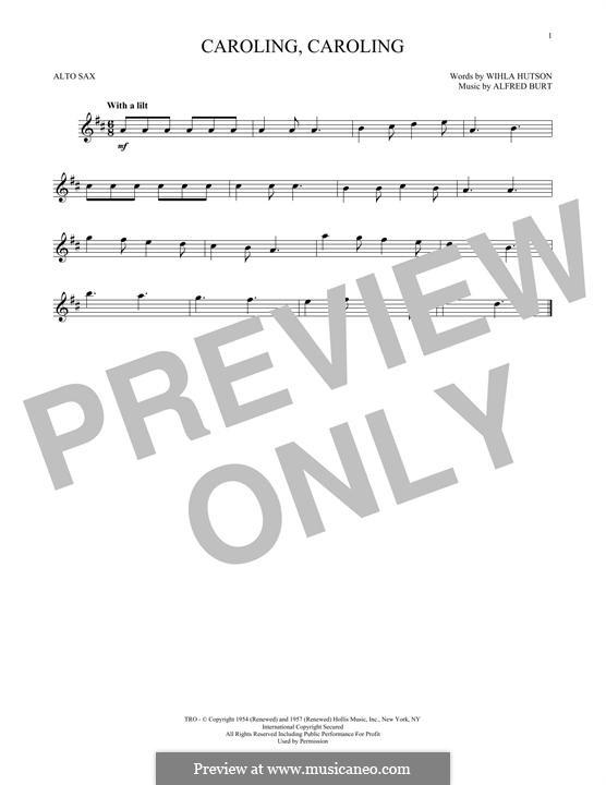 Caroling, Caroling (Nat King Cole): For alto saxophone by Alfred Burt
