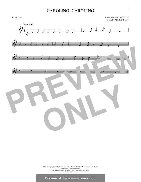 Caroling, Caroling (Nat King Cole): For clarinet by Alfred Burt