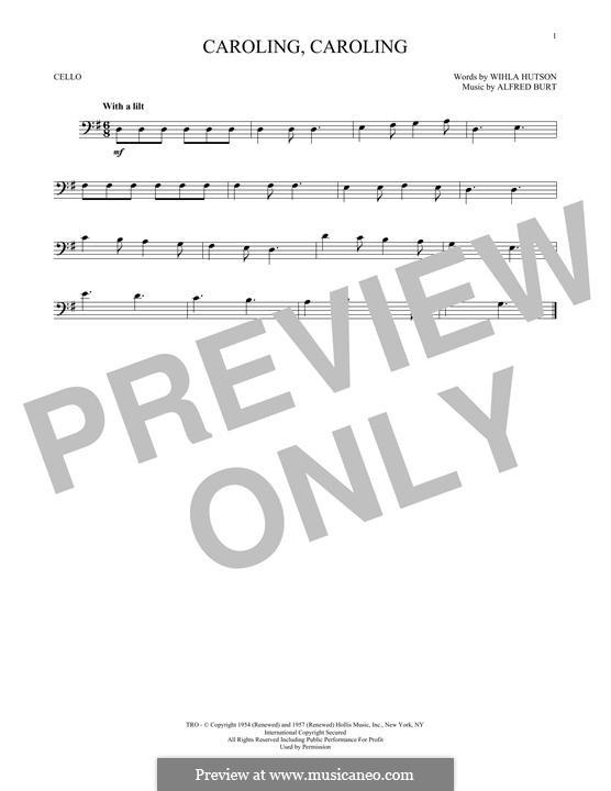 Caroling, Caroling (Nat King Cole): For cello by Alfred Burt