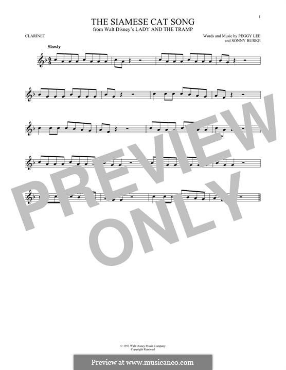 The Siamese Cat Song (from Lady and the Tramp): For clarinet by Peggy Lee, Sonny Burke