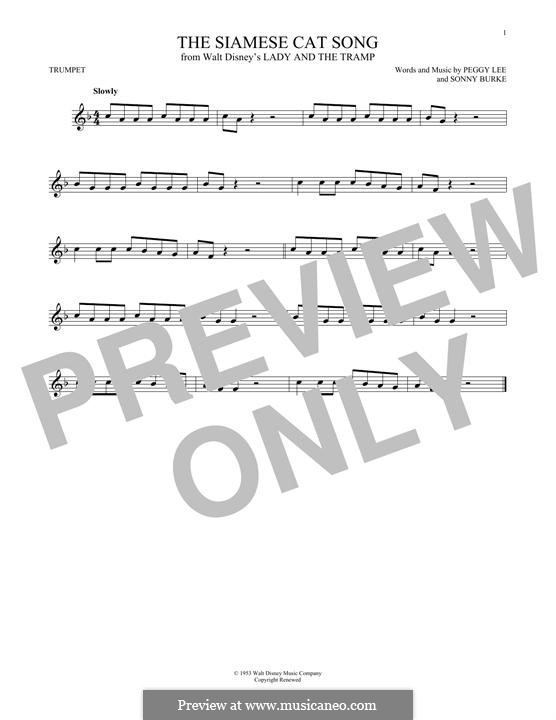 The Siamese Cat Song (from Lady and the Tramp): For trumpet by Peggy Lee, Sonny Burke