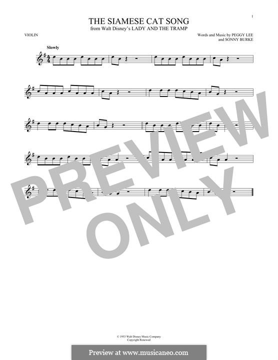 The Siamese Cat Song (from Lady and the Tramp): For violin by Peggy Lee, Sonny Burke