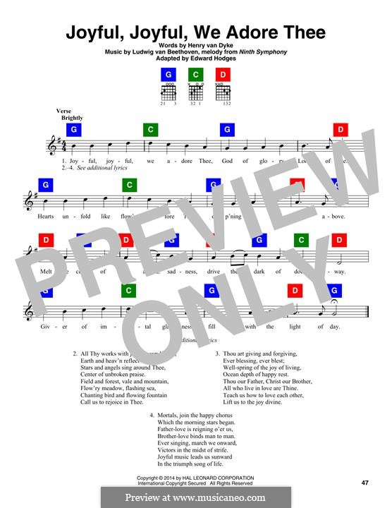 Ode to Joy: Lyrics and chords by Ludwig van Beethoven