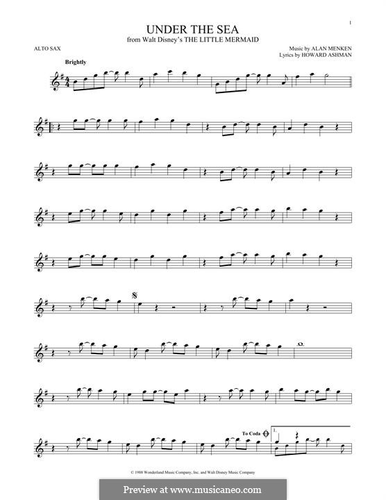 Under the Sea (from The Little Mermaid): For alto saxophone by Alan Menken