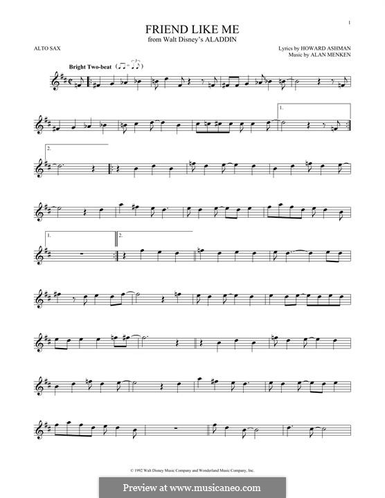 Friend Like Me (from Aladdin): For alto saxophone by Alan Menken