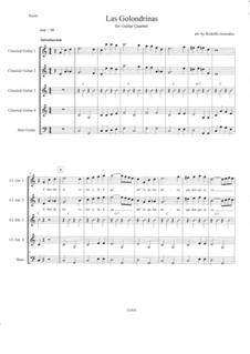 Las Golondrinas: For guitar quartet by folklore