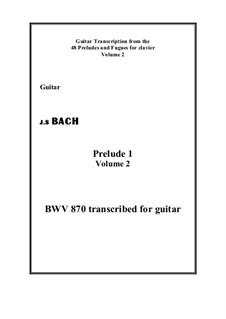 Prelude and Fugue No.1 in C Major, BWV 870: Prelude, for guitar by Johann Sebastian Bach