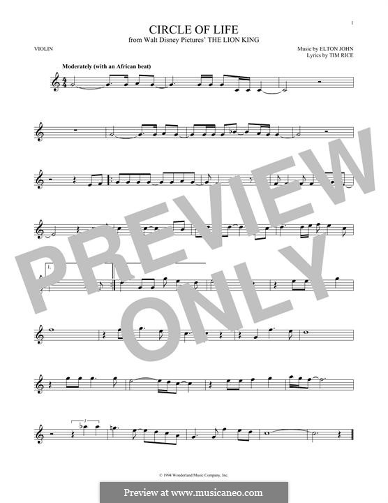 Circle of Life (from The Lion King), instrumental version: For violin by Elton John