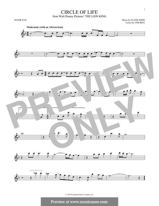Circle of Life (from The Lion King), instrumental version: For tenor saxophone by Elton John