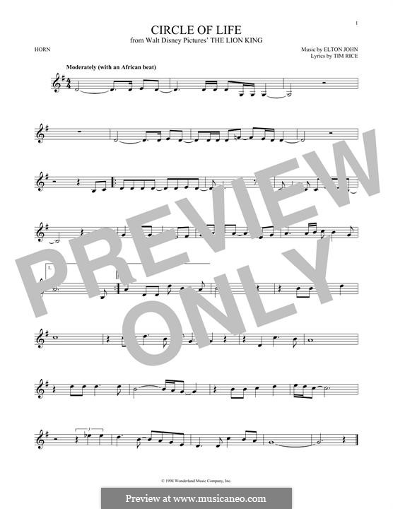 Circle of Life (from The Lion King), instrumental version: For horn by Elton John