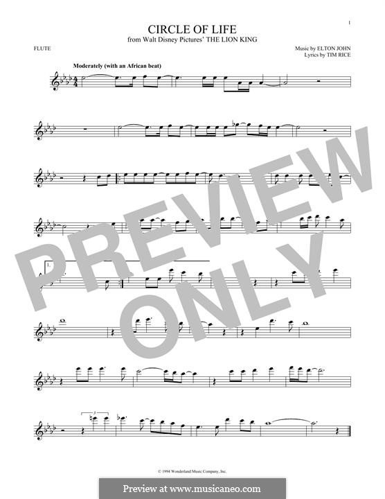 Circle of Life (from The Lion King), instrumental version: For flute by Elton John