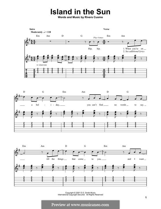 Island in the Sun (Weezer): For guitar with tab by Rivers Cuomo