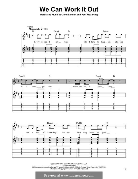We Can Work it Out (The Beatles): For guitar with tab by John Lennon, Paul McCartney