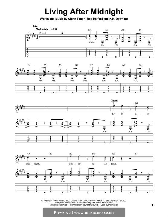 Living After Midnight (Judas Priest): For guitar with tab by Glenn Tipton, K. K. Downing, Robert Halford