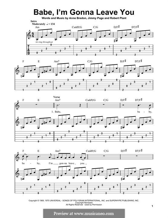 Babe, I'm Gonna Leave You (Led Zeppelin): For guitar with tab by Anne Bredon, Jimmy Page, Robert Plant