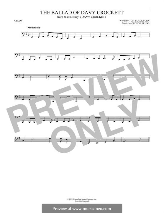 The Ballad of Davy Crockett (from Davy Crockett): For cello by George Bruns