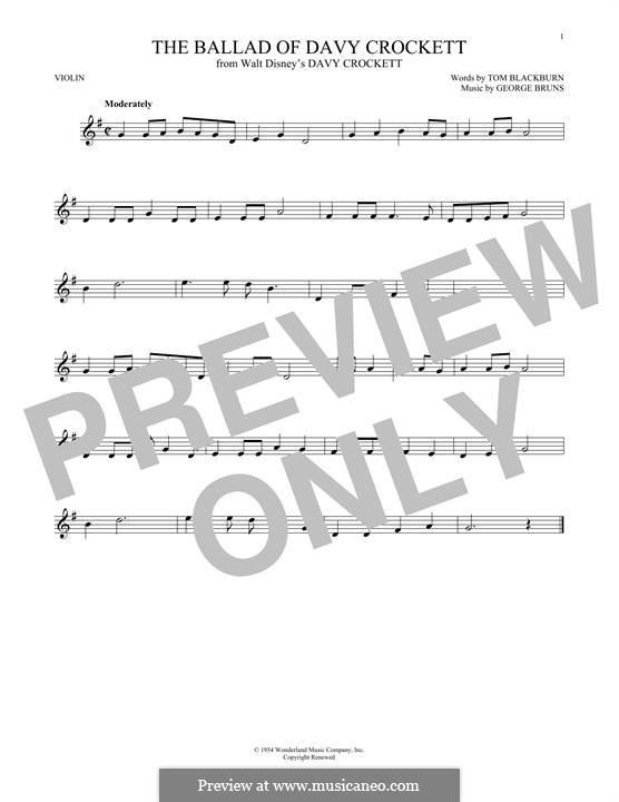 The Ballad of Davy Crockett (from Davy Crockett): For violin by George Bruns