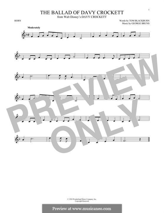 The Ballad of Davy Crockett (from Davy Crockett): For horn by George Bruns