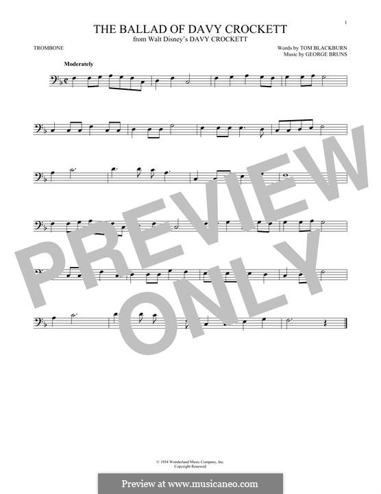 The Ballad of Davy Crockett (from Davy Crockett): For trombone by George Bruns
