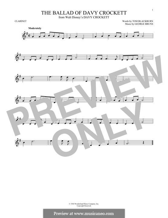 The Ballad of Davy Crockett (from Davy Crockett): For clarinet by George Bruns