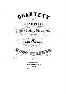 Piano Quartet in A Major, Op.1: Full score by Hugo Staehle