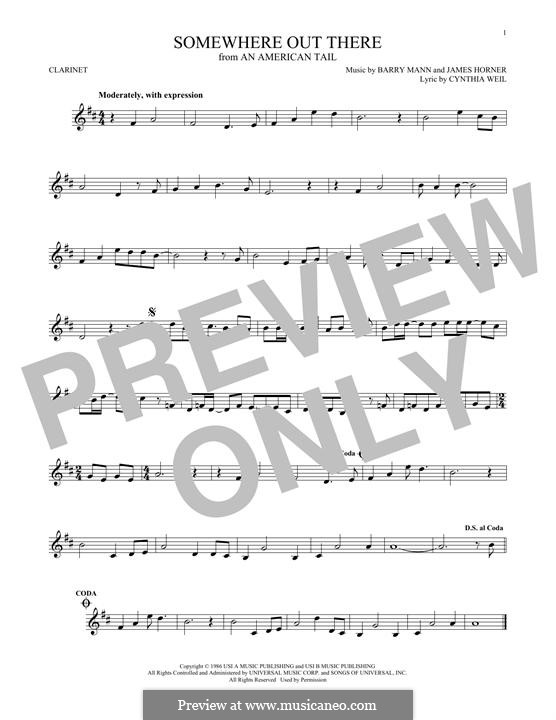 Somewhere Out There (from An American Tail): For clarinet by Barry Mann, Cynthia Weil, James Horner