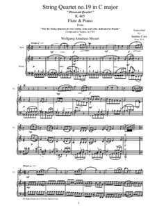 String Quartet No.19 in C Major 'Dissonance', K.465: Arrangement for flute and piano by Wolfgang Amadeus Mozart