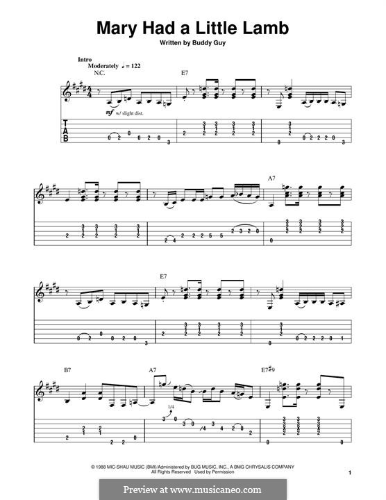 Mary Had A Little Lamb For Guitar With Tab By Buddy Guy