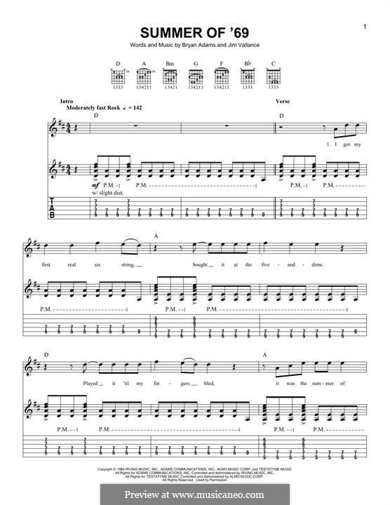 Summer Of '69 For Guitar With Tab By Bryan Adams Jim Vallance: Summer Of 69 Sheet Music Keyboard At Alzheimers-prions.com