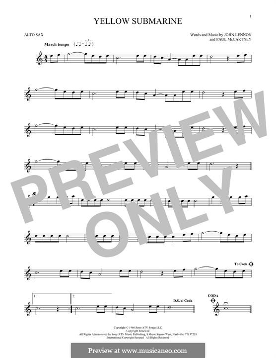 Yellow Submarine (The Beatles): For alto saxophone by John Lennon, Paul McCartney