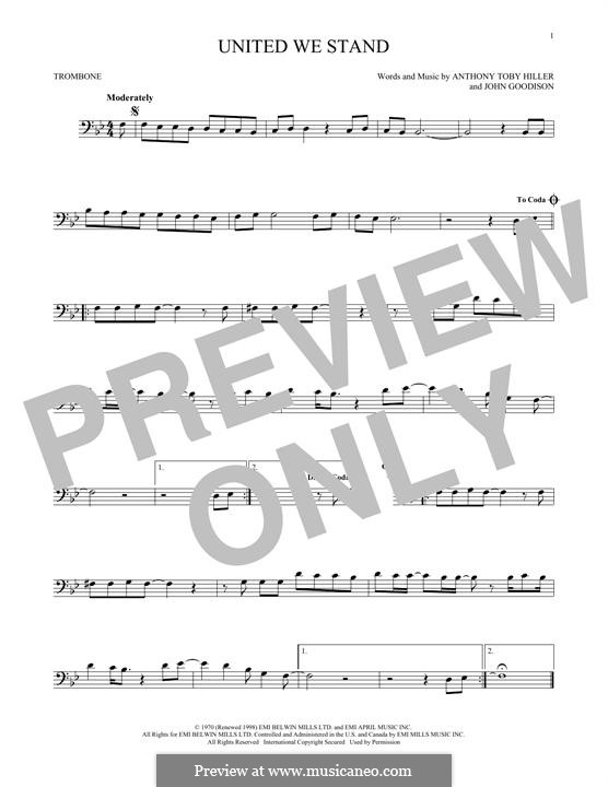 United We Stand (Brotherhood of Man): For trombone by John Goodison