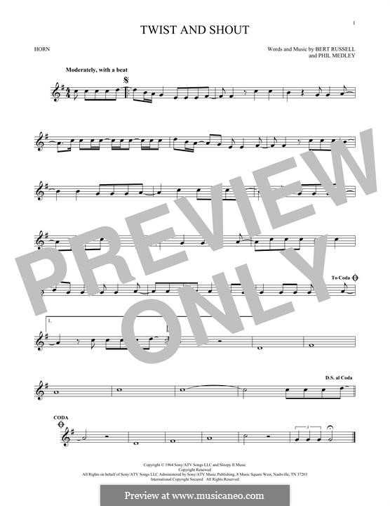 Twist and Shout (The Beatles): For horn by Bert Russell, Phil Medley
