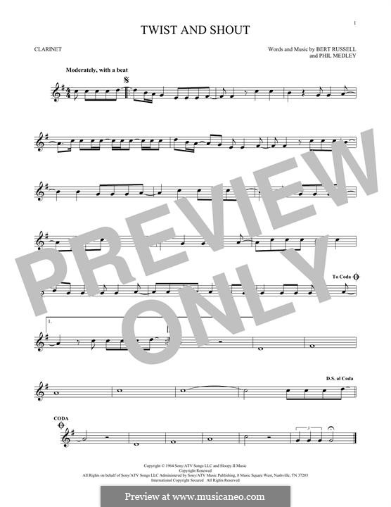 Twist and Shout (The Beatles): For clarinet by Bert Russell, Phil Medley