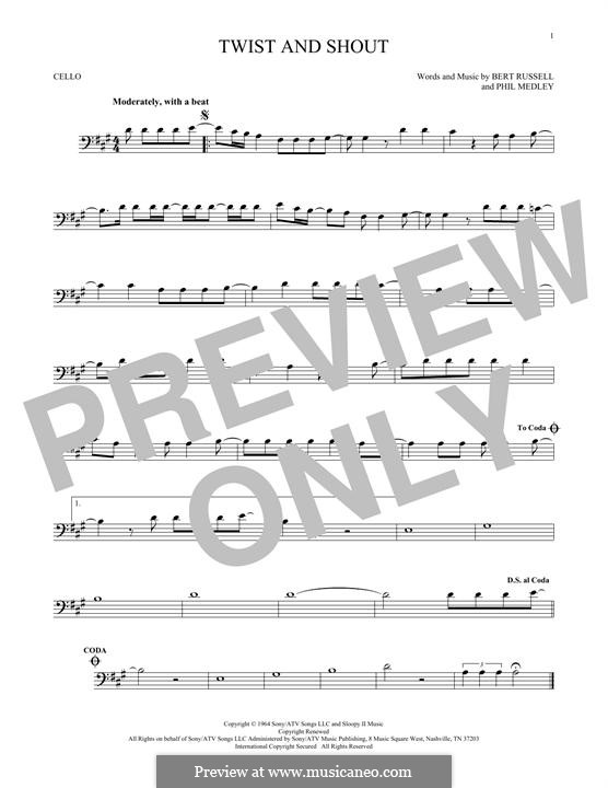 Twist and Shout (The Beatles): For cello by Bert Russell, Phil Medley