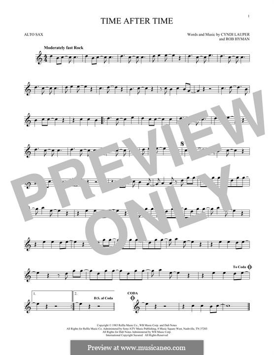 Time after Time: For alto saxophone by Cyndi Lauper, Robert Hyman