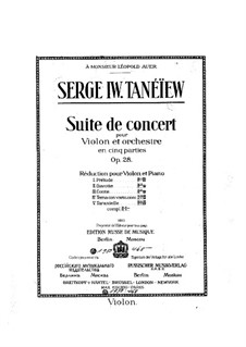 Concert Suite for Violin and Orchestra, Op.28: Solo part by Sergei Taneyev