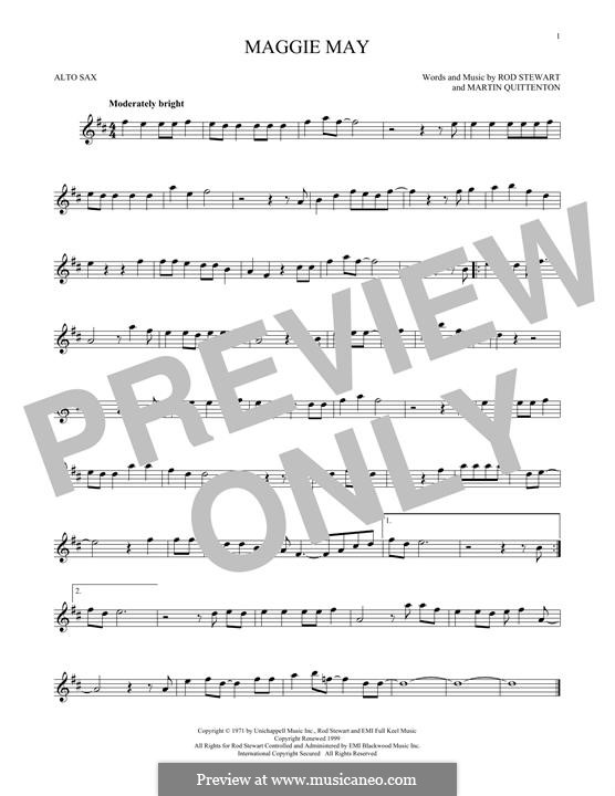 Maggie May: For alto saxophone by Martin Quittenton, Rod Stewart