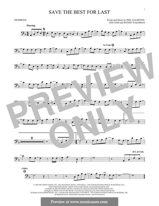 Save the Best for Last (Vanessa Williams): For trombone by John Lind, Phil Galdston, Wendy Waldman