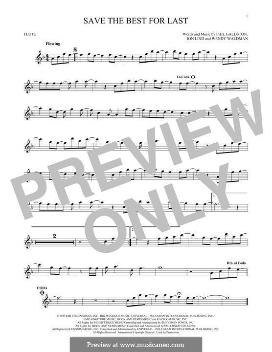 Save the Best for Last (Vanessa Williams): For flute by John Lind, Phil Galdston, Wendy Waldman