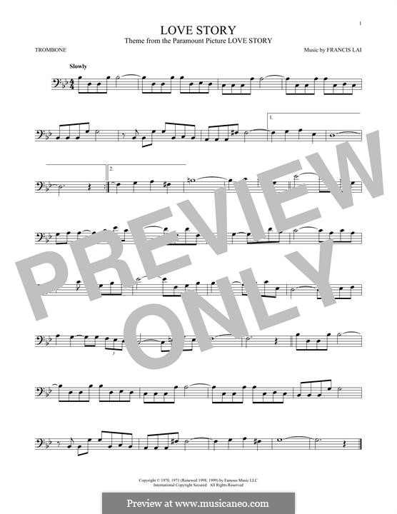 Love Story: For trombone by Francis Lai