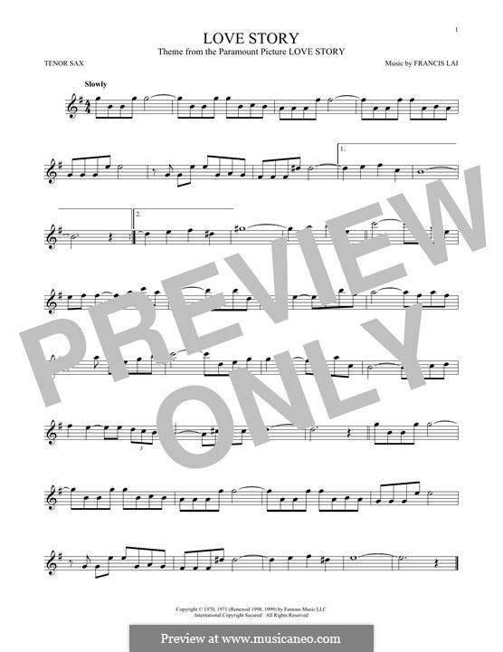 Love Story: For tenor saxophone by Francis Lai