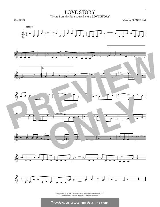 Love Story: For clarinet by Francis Lai