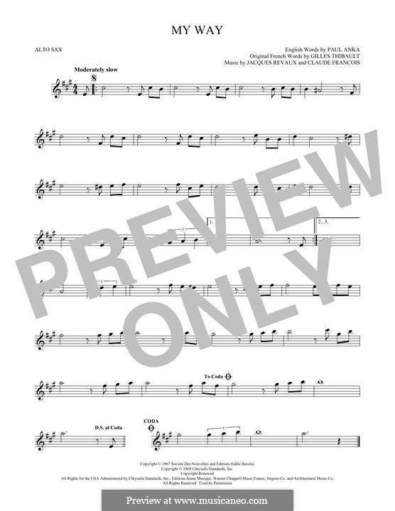 My Way: For alto saxophone by Claude Francois, Jacques Revaux