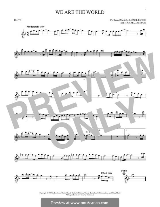We Are the World (USA for Africa): For flute by Lionel Richie, Michael Jackson