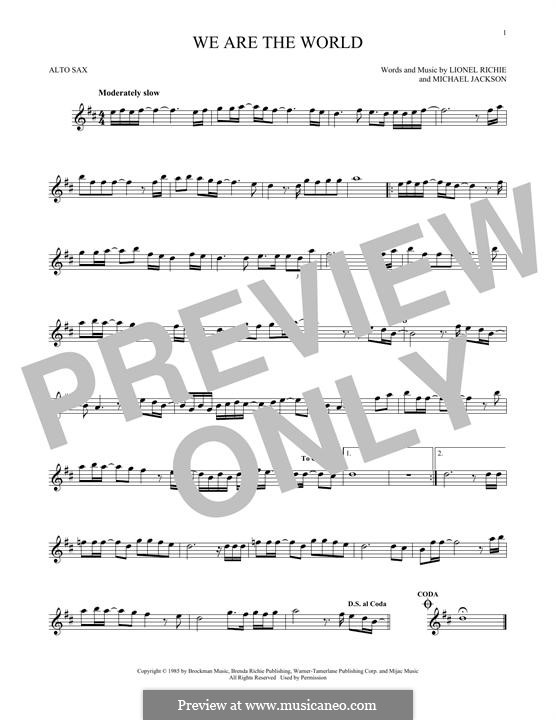 We Are the World (USA for Africa): For alto saxophone by Lionel Richie, Michael Jackson