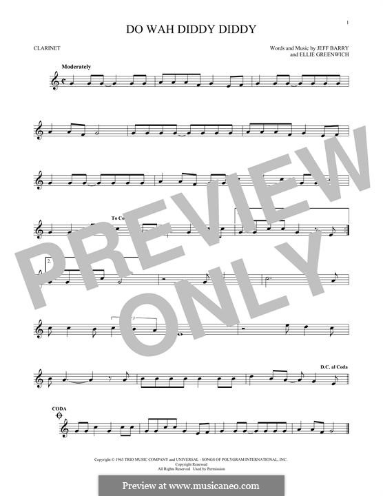 Do Wah Diddy Diddy (Manfred Mann): For clarinet by Ellie Greenwich, Jeff Barry