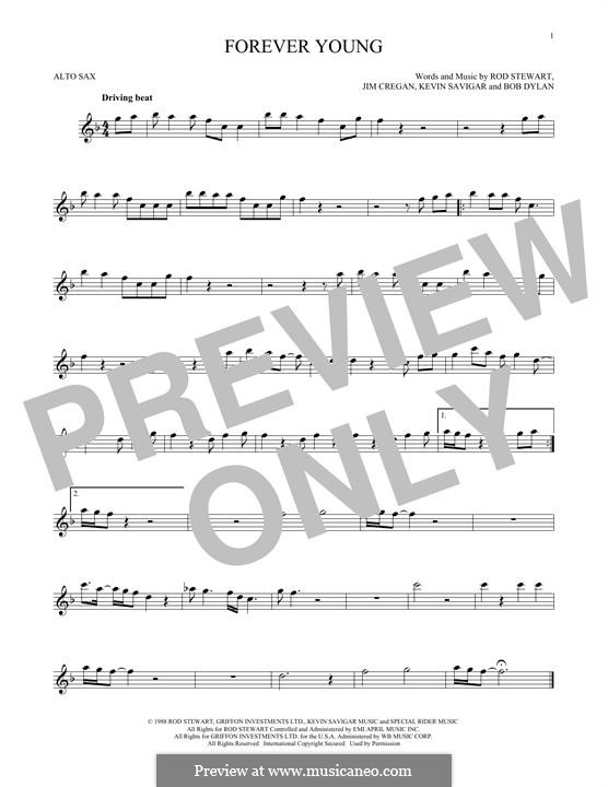 Forever Young II: For alto saxophone by Bob Dylan, Jim Cregan, Kevin Savigar, Rod Stewart